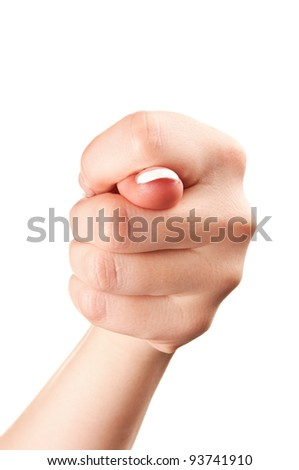 hand gesture of woman isolated on a white background - stock photo