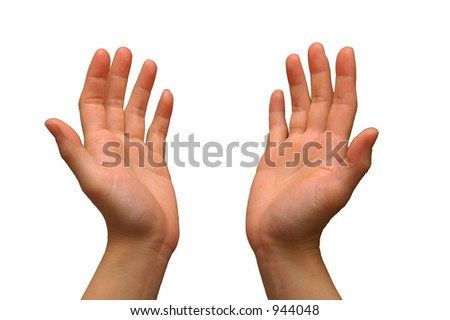 Hand gesture used during prayer, isolated with a white background - stock photo