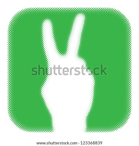 "hand gesture ""victory"" in green frame. (raster version of vector) - stock photo"