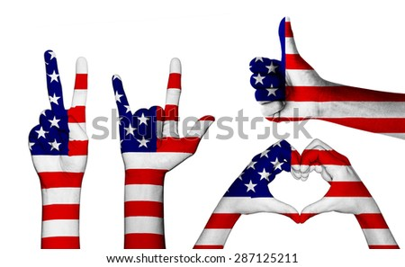 hand gesture with color america flag set clipping path  inside - stock photo