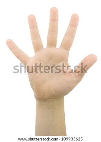 Hand gesture with 5 fingers isolated on white - stock photo