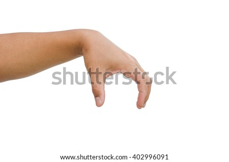 Hand gestures are captured something on a white background.
