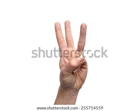 Hand gestures counting 3 - stock photo