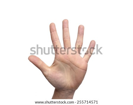 Hand gestures counting 5 - stock photo