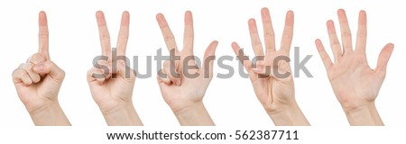 Hand gestures counting from 1 to 5. Counting hands on the finger of one to five isolated on white background