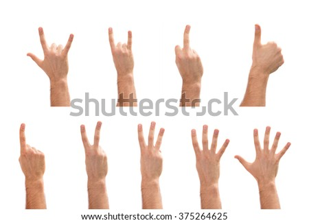hand gestures 1.2.3.4.5 numbers, rocking, thumb up. middle finger