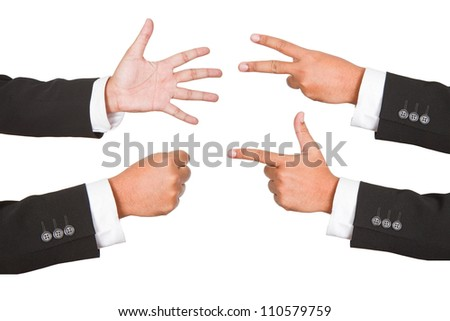Hand gestures set, isolated. These and other gestures - stock photo