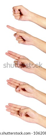 Hand gestures set, isolated. These and other gestures are also available - stock photo