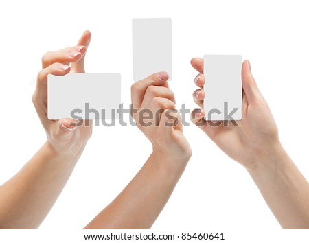 Hand gestures set, ?n white background - stock photo