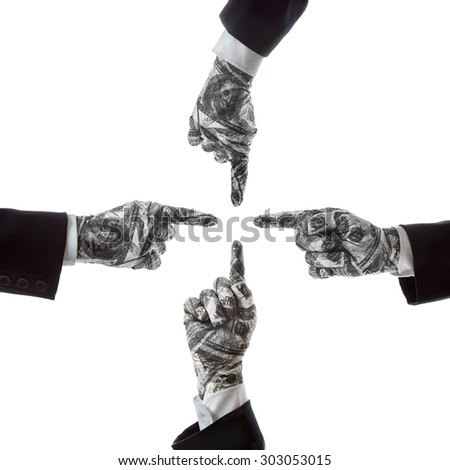 Hand gestures show the direction of financial success - stock photo