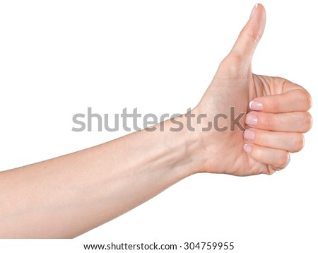 Hand gesturing 'thumbs up' - stock photo
