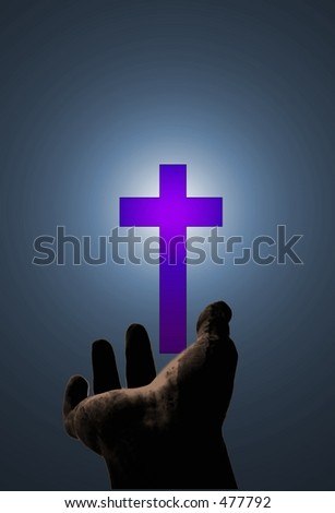 Hand gesturing toward purple cross