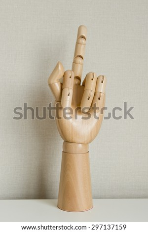 Hand Gesturing With Middle Finger On White Background - stock photo