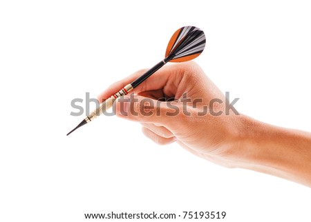 Hand Getting Ready to Throw a Plastic Tip Dart - stock photo