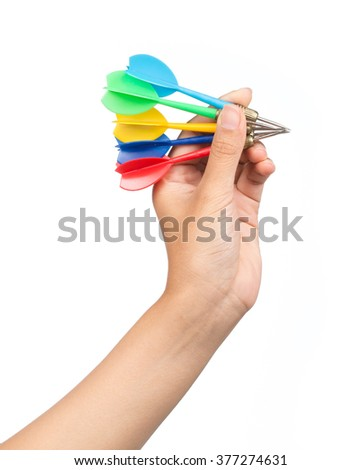 Hand Getting Ready to throw a Plastic tip Darts - stock photo