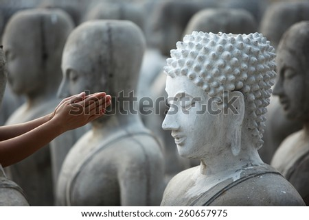 hand give respect to buddha image - stock photo