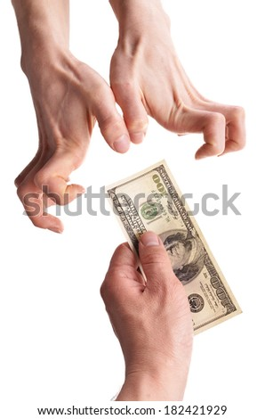 hand gives money