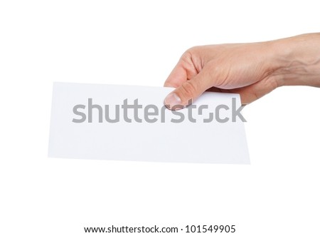 hand giving a blank envelope isolated on white background - stock photo