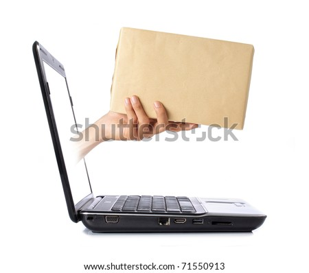 hand giving a box out of laptop screen - stock photo