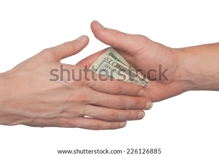 hand giving a bribe, corruption concept, isolated on white - stock photo