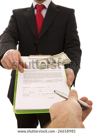 Hand giving a pen to a businessman to sign a contract (home made contract)
