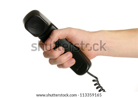 hand giving a phone tube isolated on white - stock photo