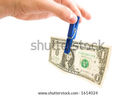 Hand giving away one dollar bill. Isolated on white - stock photo