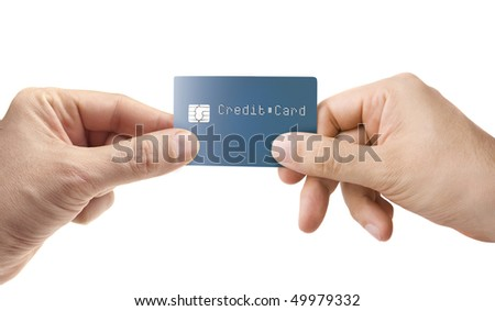 Hand giving credit card isolated on white - stock photo