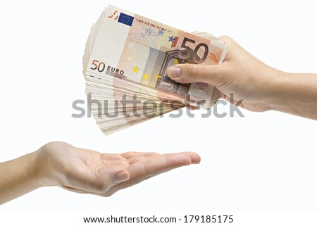 Hand giving Euro banknotes, isolated on white background
