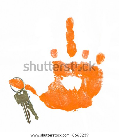 hand giving flip sign with keys hanging from thumb - concept of foreclosure - stock photo