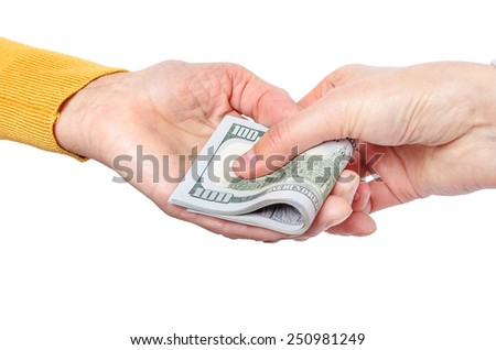 Hand giving money to other hand isolated on white. - stock photo