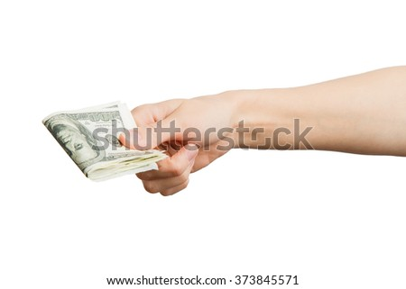 Hand giving money - United States Dollars (or USD). Hand holding Banknotes. Hands holding a $ 100 bill.  Isolated on white background. Alpha.