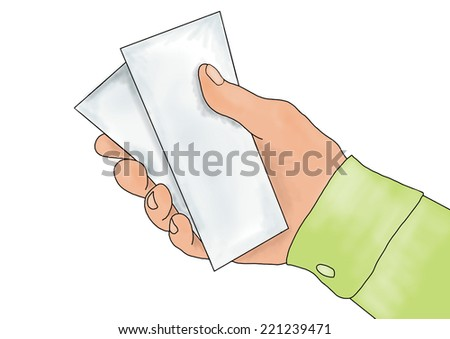 Hand giving or receiving money (hand giving money, hand with money, hand holding banknotes, money in the hand) isolated over white background. - stock photo