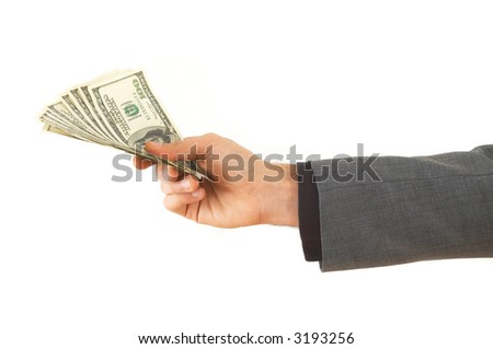 hand giving US dollars on white background