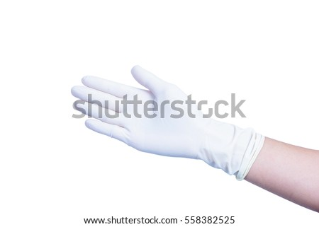 hand gloves of doctor on white background