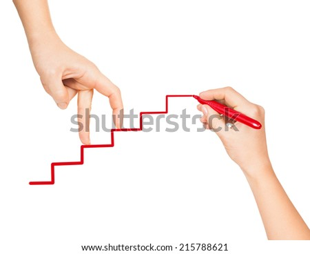 hand goes up the career ladder painted red marker - stock photo