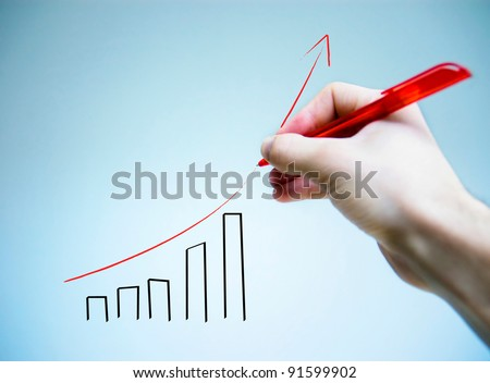 Hand graph write with a pen - stock photo