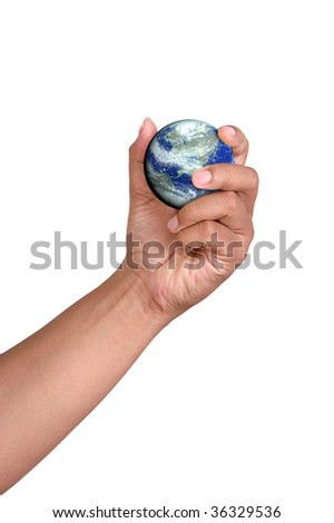 hand grasp the Earth and ocean; computer generate image