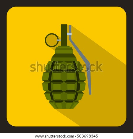 Hand grenade, bomb explosion icon in flat style with long shadow  illustration