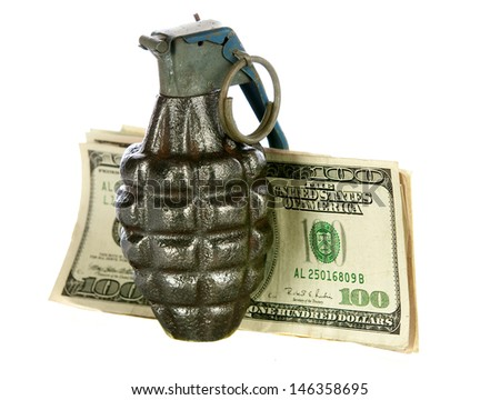 hand grenade money on a white background - stock photo