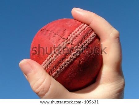 Hand gripping cricket ball. - stock photo