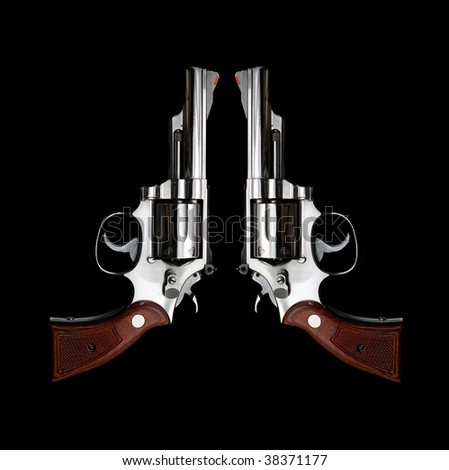 hand gun group isolated on black background - stock photo