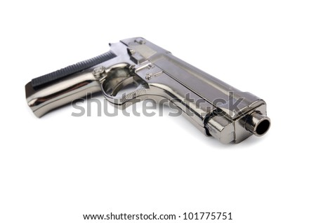 Hand gun isolated on the white background - stock photo