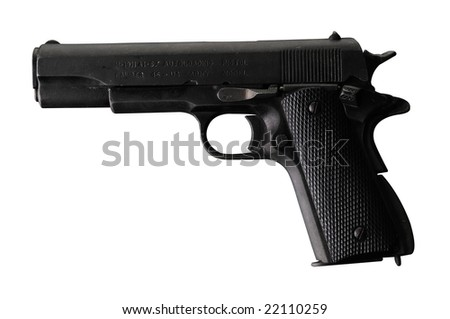 Hand Gun isolated on white with clipping path