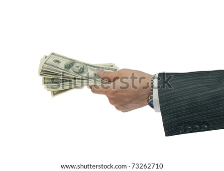 Hand handing over money isolated on white background