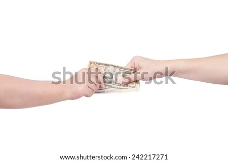 Hand handing over money to another hand isolated on white background. - stock photo