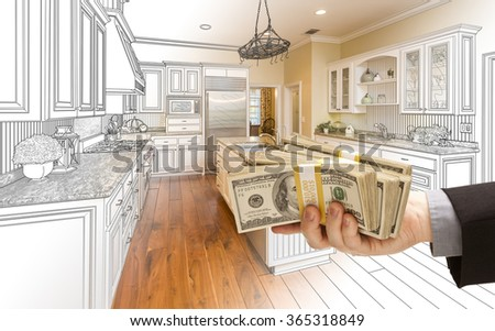 Hand Handing Stacks of Money Over Custom Kitchen Design Drawing and Photo Combination. - stock photo