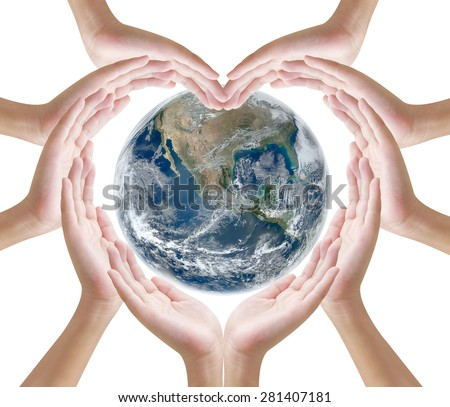 Hand heart shape and earth on white background , concept design  , Elements of image are furnished by NASA