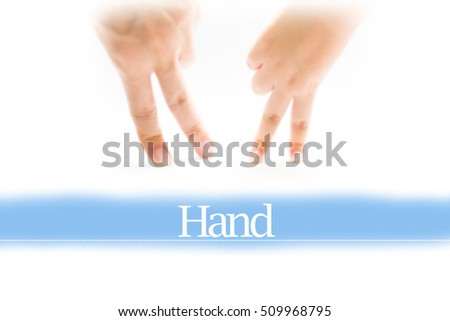 Hand - Heart shape to represent medical care as concept. The word Hand is a part of medical vocabulary in stock photo.