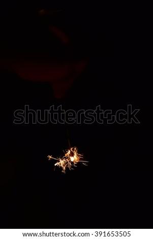 Hand-held fireworks - stock photo
